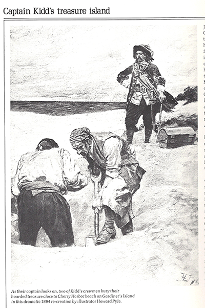1894 illustration of Captain Kidd burying treasure