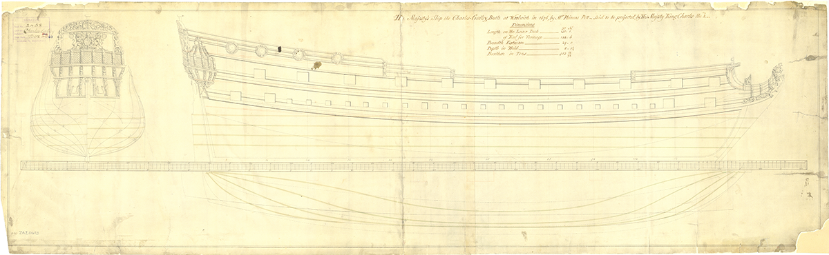 Line drawing of one of Captain Kidd's ships