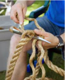 Traditional rope splicing with a marlin spike